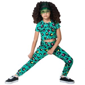 Conjunto infantil Mylu cropped e calça animal print verde