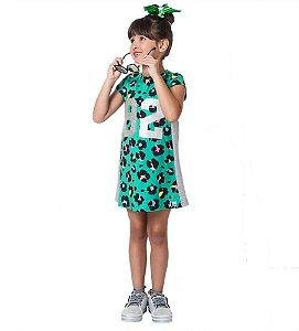 Vestido infantil Mylu animal print verde 89 faixa lateral