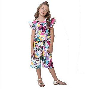 Conjunto infantil Mylu blusa e calça pantacourt borboletas