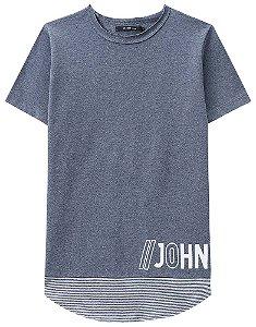 Camiseta longline infantil Johnny fox Piquê azul listras