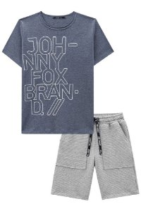 Conjunto infantil Johnny Fox camiseta piquê bermuda canelada