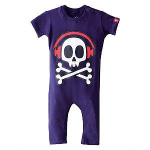 Macacão de bebê Baby beh rock soul caveira azul marinho