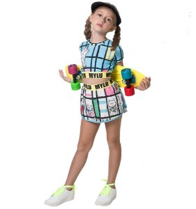 Conjunto infantil Mylu crooped shorts saia mondrian bichos