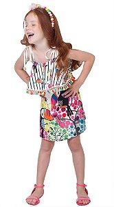 Vestido infantil Mylu  Tassel colors Tucanos e calopsitas