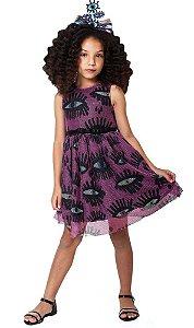 Vestido infantil Mylu Rodado de tule olhos roxo