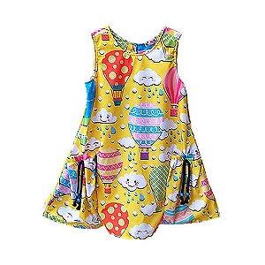 Vestido infantil Mylu Balões e nuvens amarelo bolso lateral