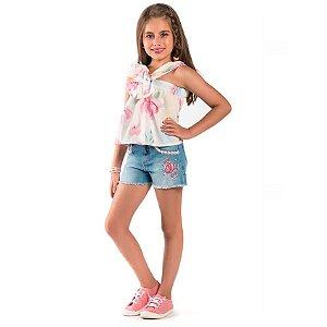 Conjunto infantil Malagah Blusa laço shorts jeans flores