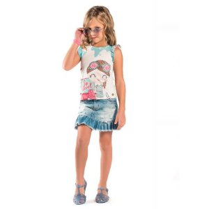 Conjunto infantil Malagah Blusa com saia jeans travel
