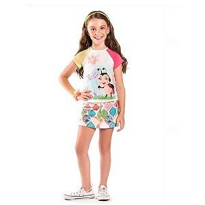 Conjunto infantil Malagah Blusa com saia shorts Joaninha