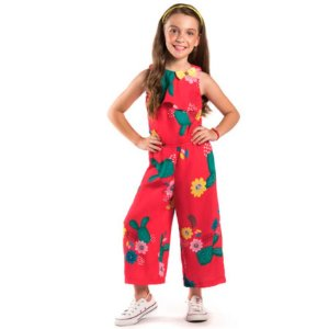 Macacão infantil Malagah Pantacourt Vermelho flores