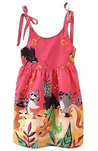 Vestido infantil Mundo céu música animais vermelho coral