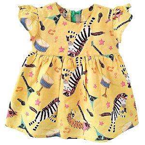 Vestido bebê Mundo céu música zebra e porco espinho