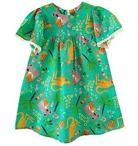 Vestido infantil Mundo céu música canguru e coala verde