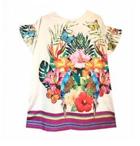 Vestido infantil das meninas brisa Araras e borboletas