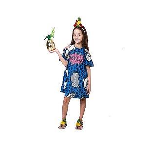 Vestido infantil Mylu caça palavras azul aplique paetê