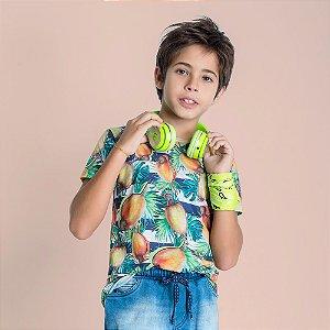 Camiseta infantil Oliver Jr. Listras Cajú