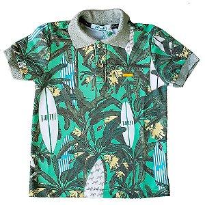 Camisa polo infantil Oliver Jr. Bananeiras e pranchas