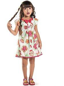 Vestido infantil Malagah verde flores pompom barra