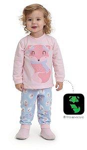 Pijama infantil Dedeka Moletinho flanelado raposa
