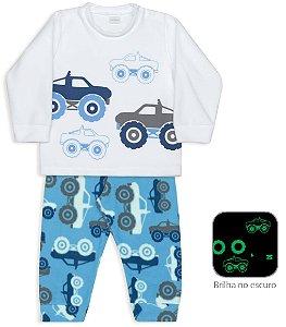 Pijama infantil Dedeka Soft brilha no escuro Carros 4x4 passos