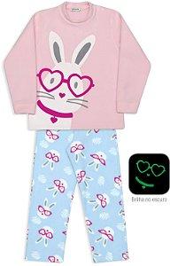 Pijama infantil Dedeka Soft brilha no escuro coelho