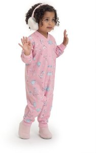 Macacão infantil dedeka moletinho flanelado patinação rosa