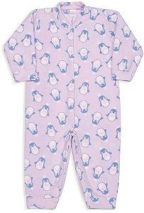 Macacão infantil feminino Dedeka soft rosa pinguim