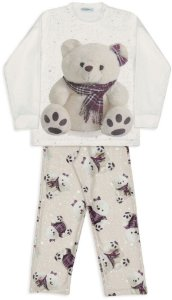 Pijama infantil Dedeka  pijama de soft ursa xadrez
