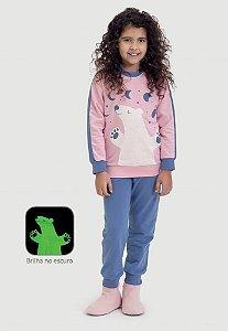 Pijama infantil Dedeka Moletinho flanelado Urso Rosa