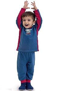 Pijama infantil Dedeka Moletinho flanelado urso marinho