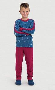 Pijama infantil Dedeka Moletinho flanelado esquiadores marinho