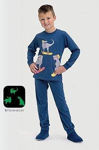 Pijama infantil Dedeka meia malha dino ski brilha no escuro