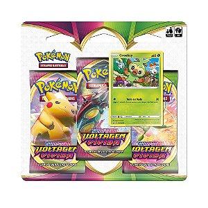 Pokemon Blister Triplo Ee4 Voltagem Vívida Grookey Original