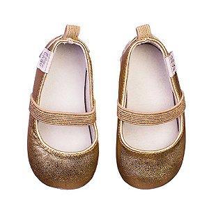 Sapatilha Dourada Infantil Bailarina Couro - Babo Uabu