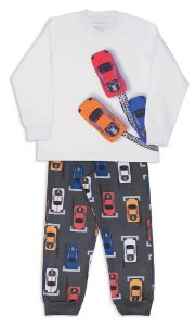 Pijama Infantil Dedeka Moletinho Flanelado Pit Stop Branco