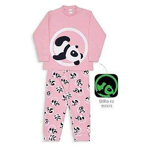 Pijama Infantil Dedeka Pijama Soft Brilha No Escuro Meninna Panda