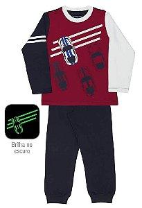 Pijama Infantil Dedeka Meia Malha Brilha No Escuro PitStop V