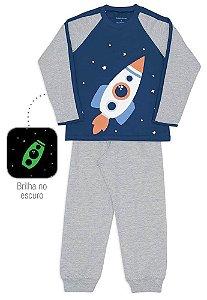 Pijama Infantil Dedeka Meia Malha Brilha No Escuro Azul Foguete