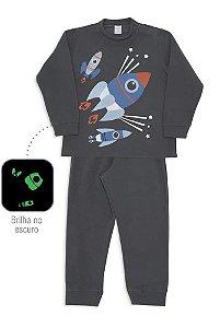 Pijama Infantil Dedeka Pijama De Soft Que Brilha No Escuro Foguete Cinza