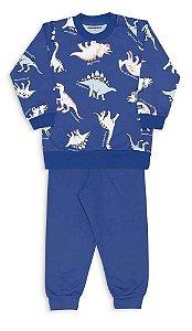 Pijama Infantil Dedeka Moletinho Flanelado Passos Menino  Azul Dinossauro