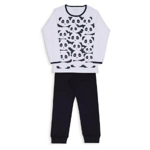 Pijama Infantil Dedeka Pijama De Algodão Ribana Menina branco e Preto PANDA