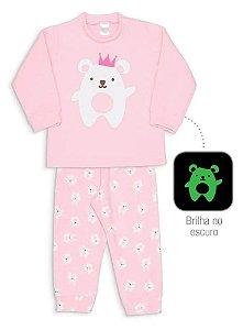 Pijama Infantil Dedeka Pijama De Soft Que Brilha No Escuro Rosa Urso Coroa