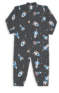 Macacão De Soft Infantil Masculino Pijama Dedeka Passos Cinza-escuro Foguete