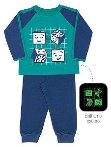 Pijama Infantil Dedeka 100% Algodão Meia Malha Menino Passos Verde e Azul Blocos de montar