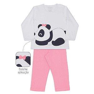 Pijama Infantil Dedeka 100% Algodão Meia Malha Menina Passos Rosa panda