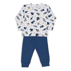 Pijama Infantil Dedeka Algodão E Modal Menino Passos Azul-marinho Robôs
