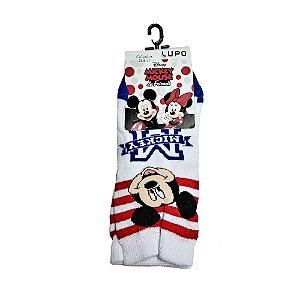 Meia Disney KM Mickey Branca Listrada Lupo