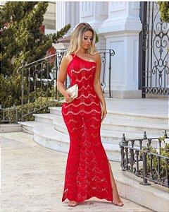 Vestido Longo Rendado Red