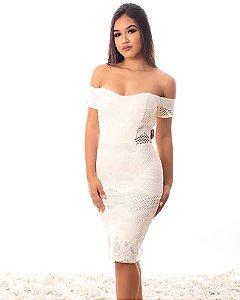 Vestido Queen ombro a ombro branco