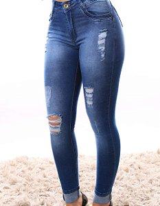 Calça Jeans Escura Cintura Alta com Rasgos
